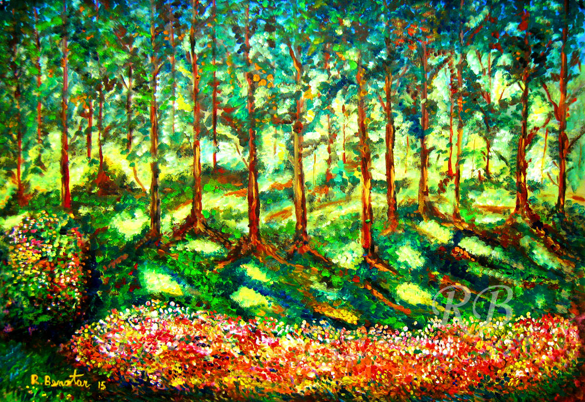 Acrylic Painting Landscape Light behind Forest new contemporary impressionist by Rami Benatar